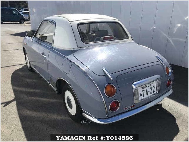 It is a picture of the blue nissan figaro open top in 1991,Sub Photo 9 Stock No.Y014586