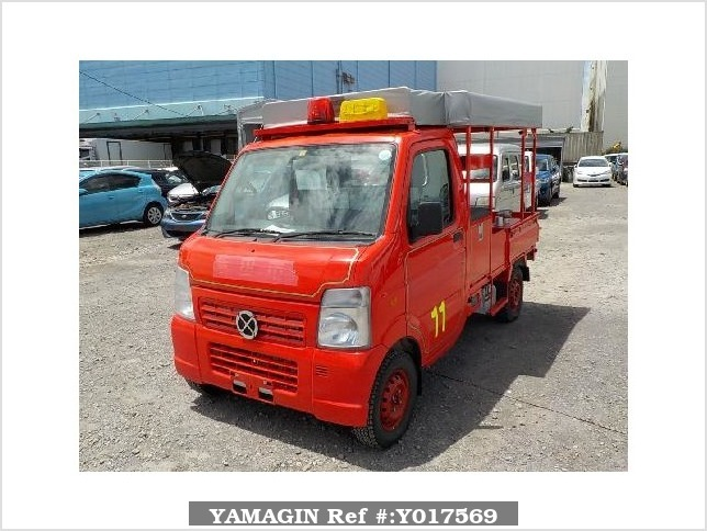 It is a picture of the red suzuki carry fire truck in 2010,Sub Photo 1 Stock No.Y017569