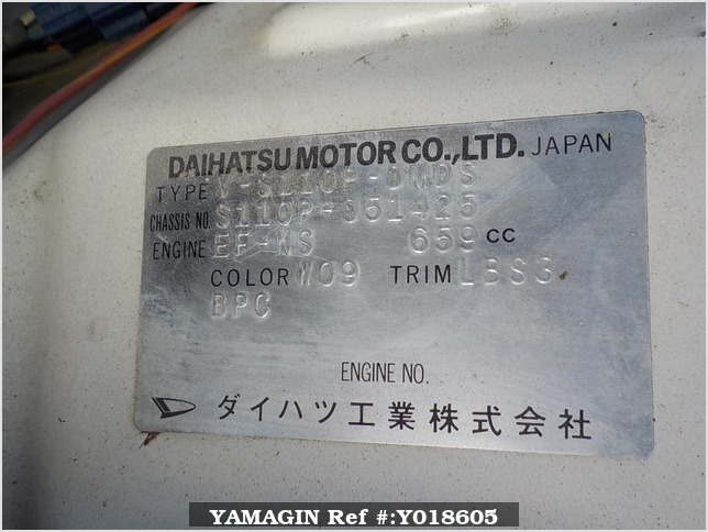 It is a picture of the white daihatsu hijet  scissors dump in 1995,Sub Photo 13 Stock No.Y018605