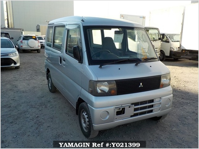 It is a picture of the silver mitsubishi minicab passenger van in 2002,Sub Photo 0 Stock No.Y021399
