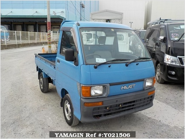 It is a picture of the blue daihatsu hijet truck in 1997,Sub Photo 0 Stock No.Y021506