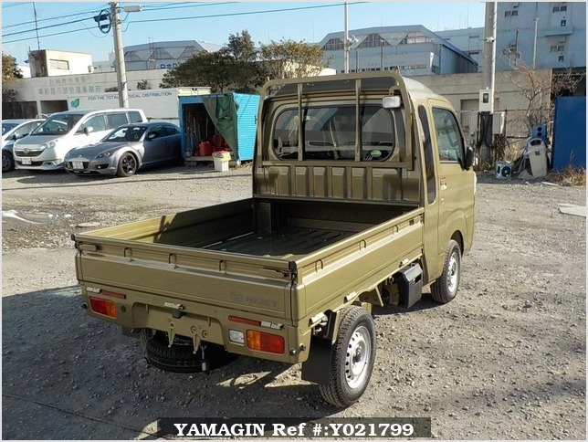 It is a picture of the khaki daihatsu hijet truck in 2018,Sub Photo 2 Stock No.Y021799