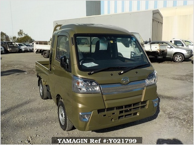 It is a picture of the khaki daihatsu hijet truck in 2018,Sub Photo 0 Stock No.Y021799