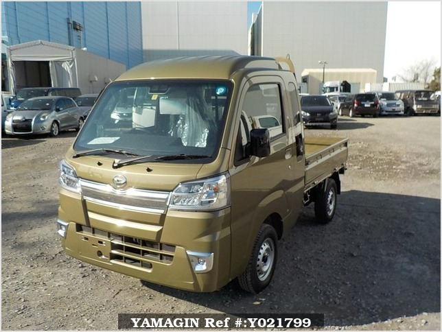 It is a picture of the khaki daihatsu hijet truck in 2018,Sub Photo 1 Stock No.Y021799