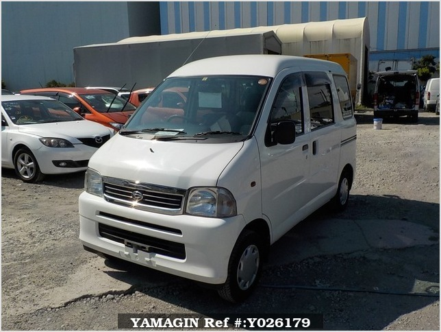 It is a picture of the white daihatsu hijet passenger van in 2003,Sub Photo 1 Stock No.Y026179
