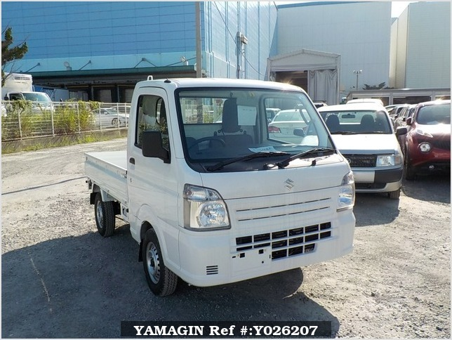 It is a picture of the white suzuki carry truck in 2018,Sub Photo 0 Stock No.Y026207