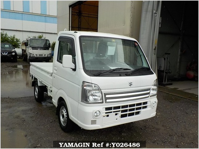 It is a picture of the white suzuki carry truck in 2018,Sub Photo 0 Stock No.Y026486