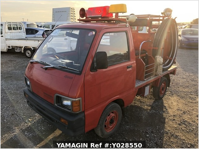 It is a picture of the red daihatsu hijet fire truck  fire truck in 1990,Sub Photo 1 Stock No.Y028550