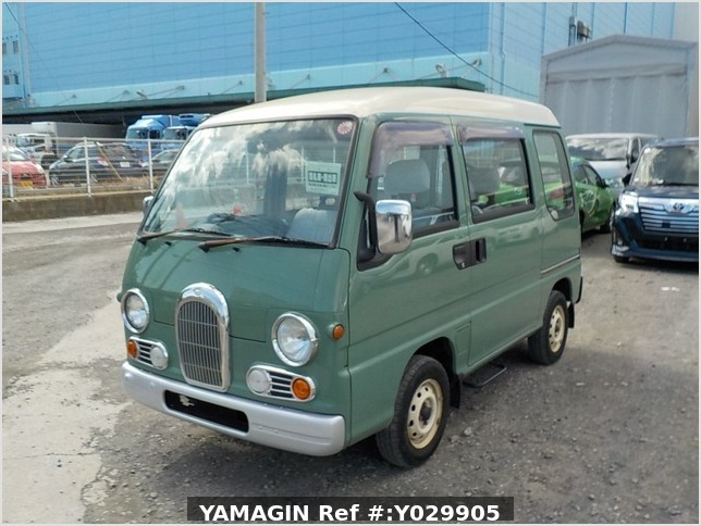 It is a picture of the green 2 subaru sambar dias passenger van in 1995,Sub Photo 1 Stock No.Y029905