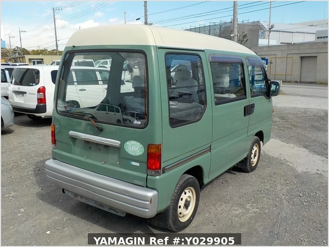 It is a picture of the green 2 subaru sambar dias passenger van in 1995,Sub Photo 2 Stock No.Y029905