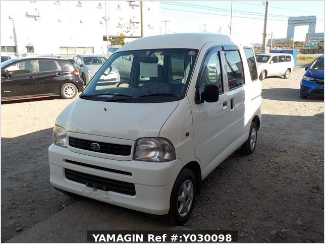 It is a picture of the white daihatsu hijet passenger van in 2001,Sub Photo 1 Stock No.Y030098