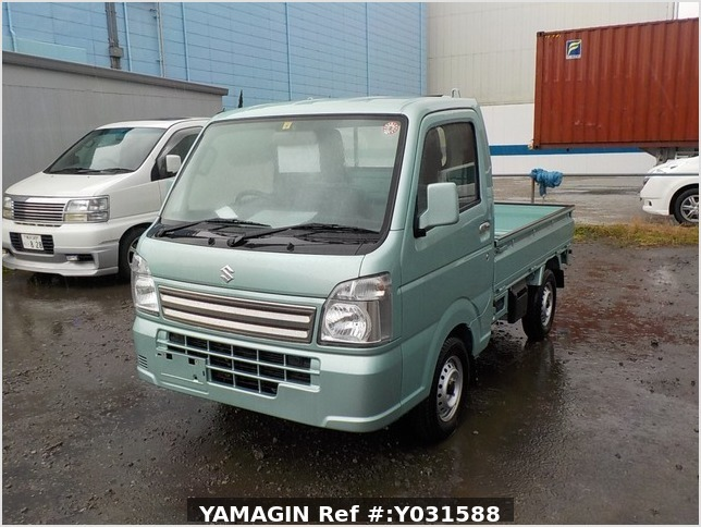 It is a picture of the green suzuki carry truck in 2019,Sub Photo 1 Stock No.Y031588