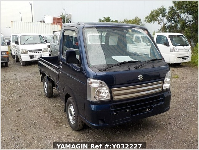 It is a picture of the navy blue suzuki carry truck in 2019,Sub Photo 0 Stock No.Y032227