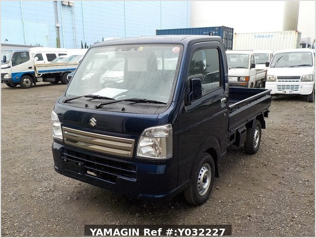 It is a picture of the navy blue suzuki carry truck in 2019,Sub Photo 1 Stock No.Y032227
