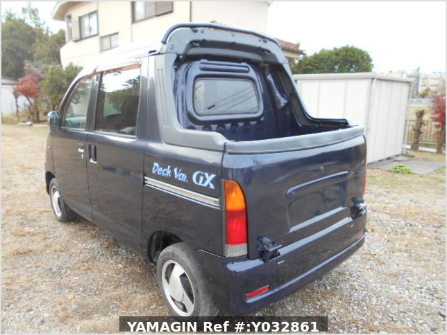 It is a picture of the blue daihatsu hijet deck van in 2001,Sub Photo 3 Stock No.Y032861