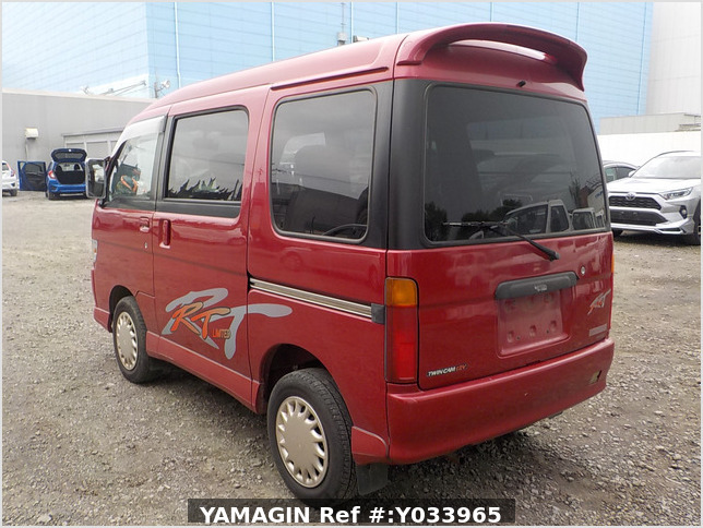 It is a picture of the red daihatsu atrai passenger van in 1996,Sub Photo 3 Stock No.Y033965
