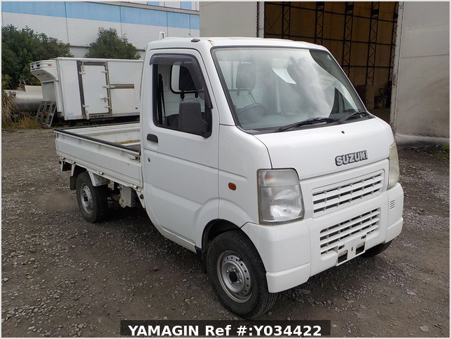 It is a picture of the white suzuki carry truck in 2003,Sub Photo 0 Stock No.Y034422