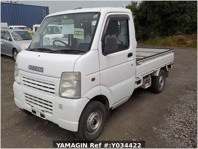 It is a picture of the white suzuki carry truck in 2003,Sub Photo 1 Stock No.Y034422