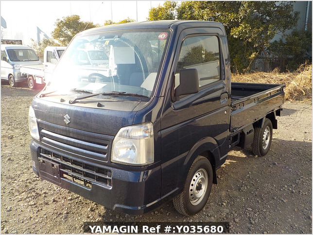 It is a picture of the dark blue suzuki carry truck in 2019,Sub Photo 1 Stock No.Y035680