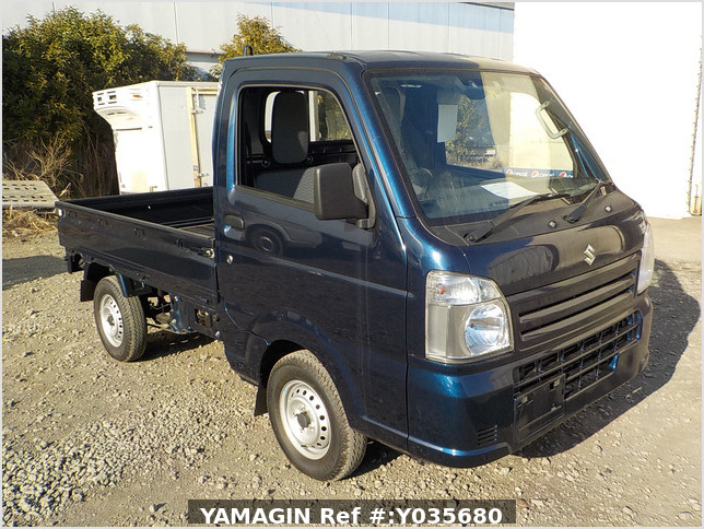 It is a picture of the dark blue suzuki carry truck in 2019,Sub Photo 0 Stock No.Y035680