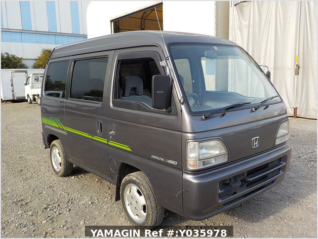 It is a picture of the grey honda acty passenger van in 1996,Sub Photo 0 Stock No.Y035978