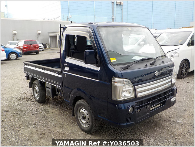 It is a picture of the navy blue suzuki carry  truck in 2014,Sub Photo 0 Stock No.Y036503